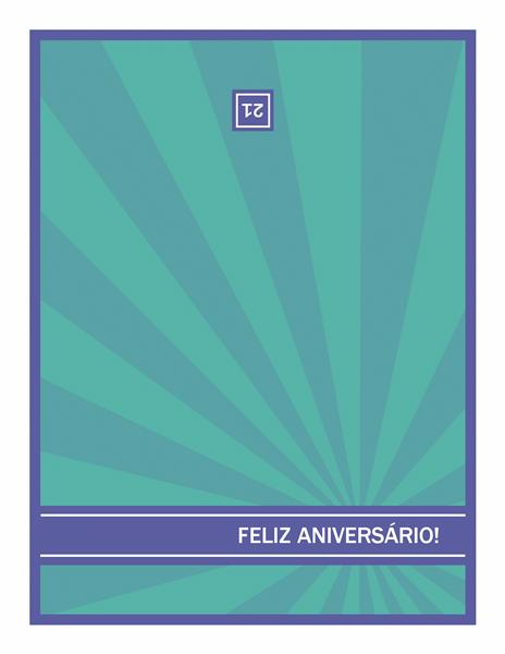 Cartão para datas marcantes de aniversário, com raios azuis em um plano de fundo verde