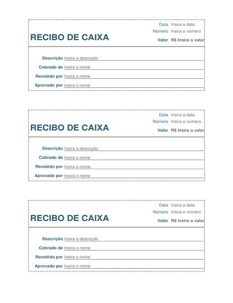Recibo de pagamento à vista (3 por página)