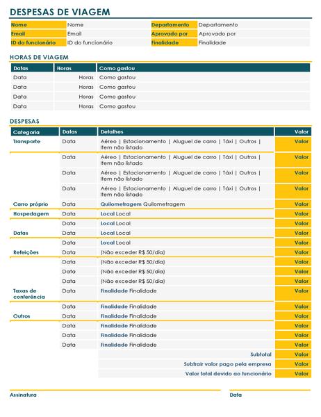 Formulário de relatório de despesas de viagem