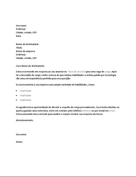 Modelo de carta de apresentação em resposta a um anúncio de cargo técnico