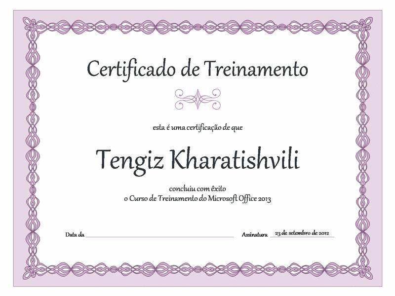 Certificado de Conclusão (design com encadeamento lilás)
