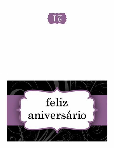 Cartão de aniversário (design com fita lilás)