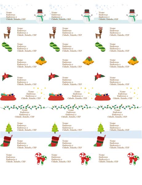 Etiquetas de marca de presente (design Espírito de Natal, 30 por página, é compatível com o formato Avery 5160)