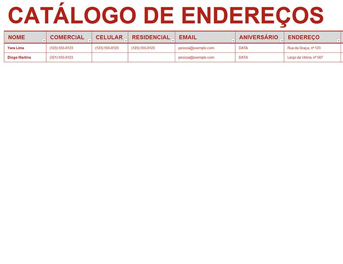 Catálogo de endereços pessoal