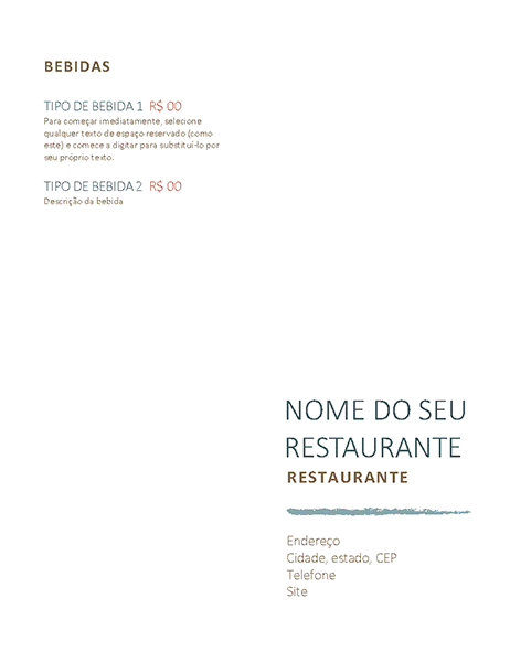 Menu do restaurante