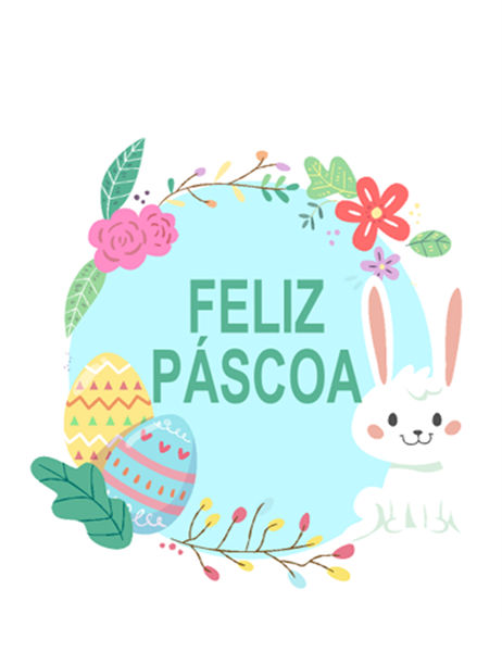 Cartão Feliz Páscoa (dobra em quatro partes)
