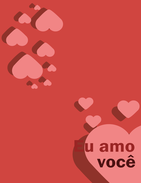 Cartão Eu amo você (dobra em quatro partes)