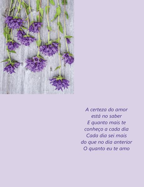 Cartão de Dia dos Namorados com poema (dobra em quatro partes)