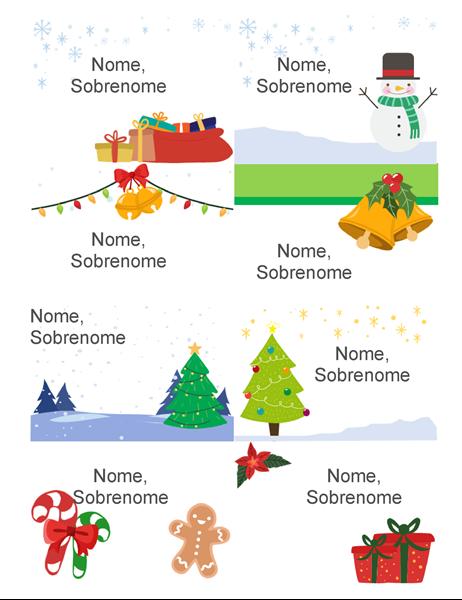 Crachás de feriados (8 por página design de espírito de Natal funciona com 5395 Avery e semelhantes)