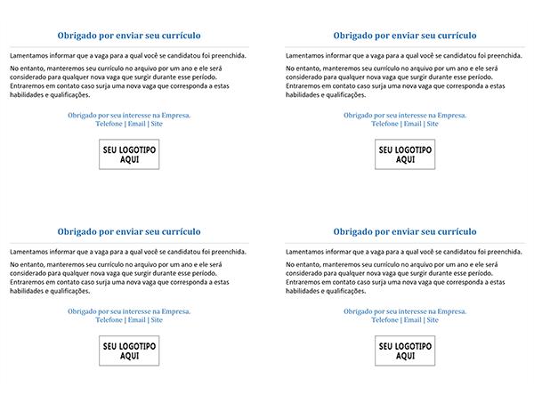 Cartão-postal para candidatos a uma vaga de emprego quando uma vaga é preenchida (4 por página)