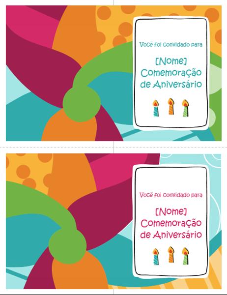Cartões de convite para a festa de aniversário (2 por página, design Brilhante)