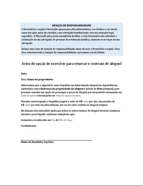 Aviso do locatário de opção de exercício para renovar o contrato de aluguel