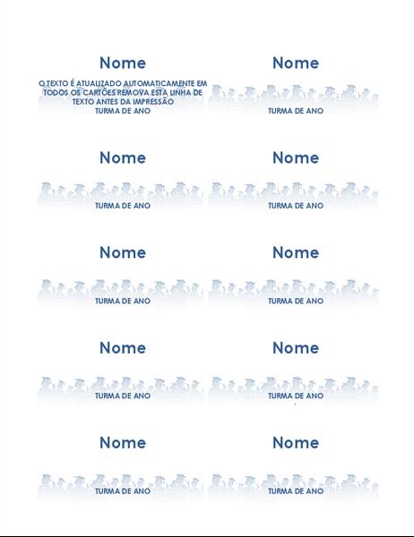 Cartões com nome do formando (10 por página)