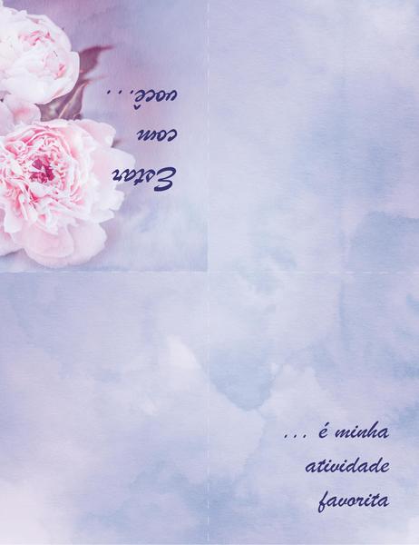 Cartão romântico (com rosa, dobra em quatro partes)
