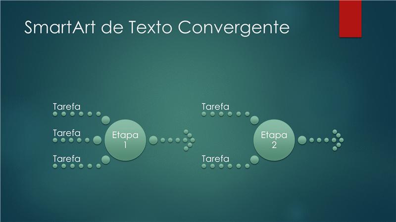 Diagrama de processo (texto convergente, design de bolha verde, widescreen)