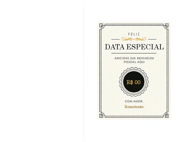 Certificado de data comemorativa