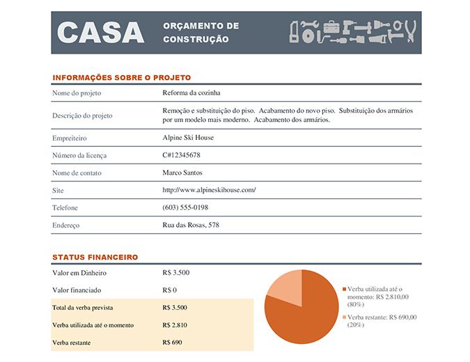 Orçamento de construção residencial
