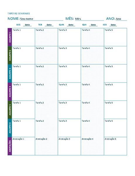 Planilha de tarefa semanal (colorida)