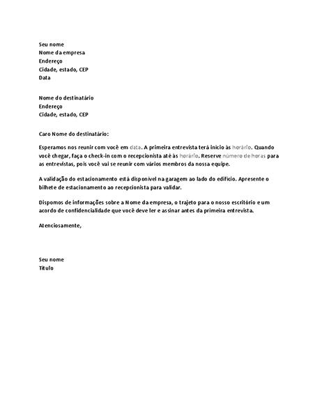 Carta de confirmação da entrevista de emprego do candidato