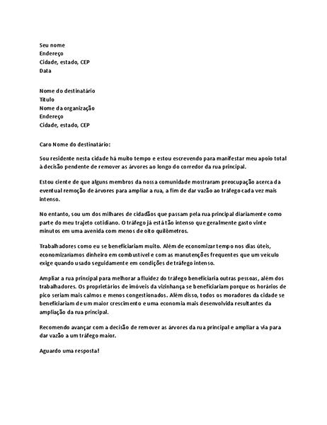 Carta de apoio para responsável local