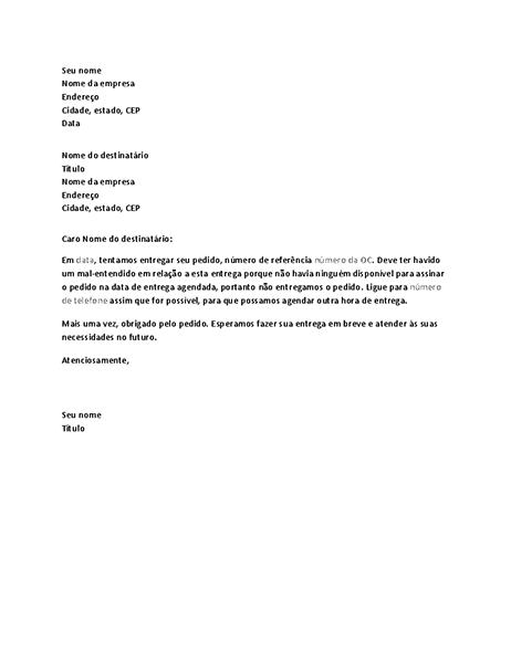 Carta para notificar cliente sobre falha na entrega