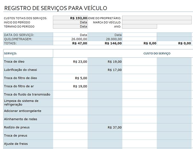Registro de serviços para veículo