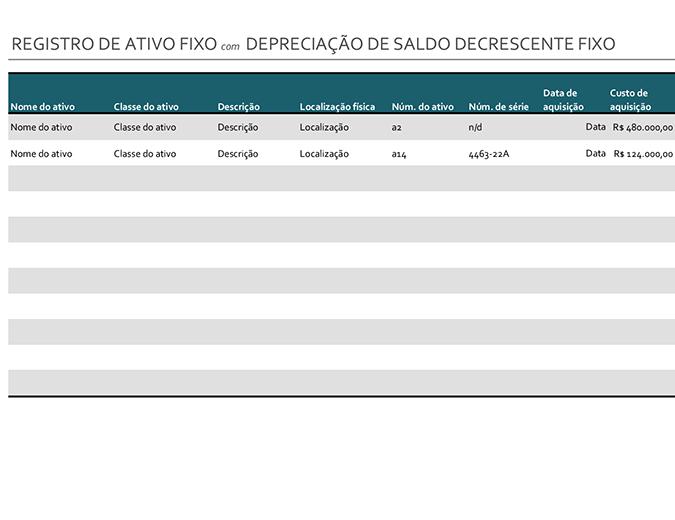 Registro de ativos fixos com depreciação de saldo decrescente fixo