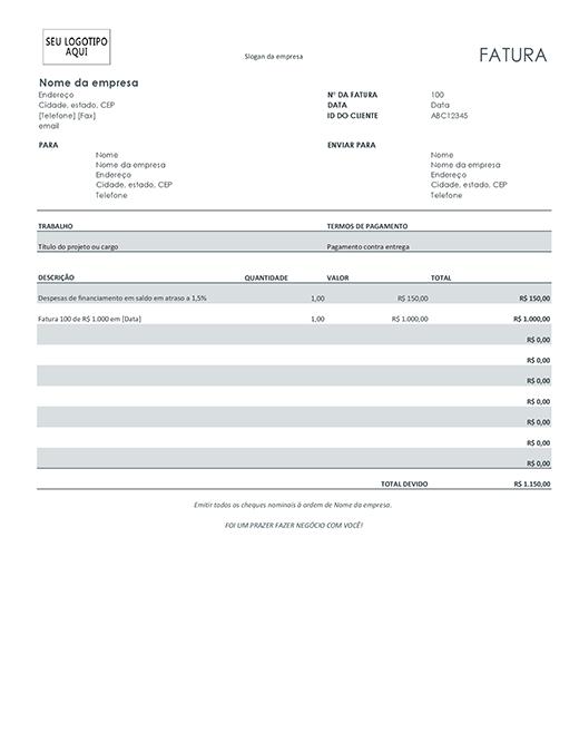 Fatura com despesas de financiamento (cinza)