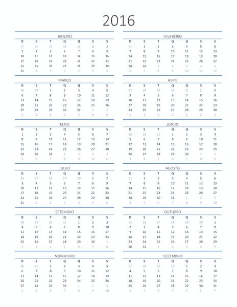 Calendário para qualquer ano (dom-sáb)