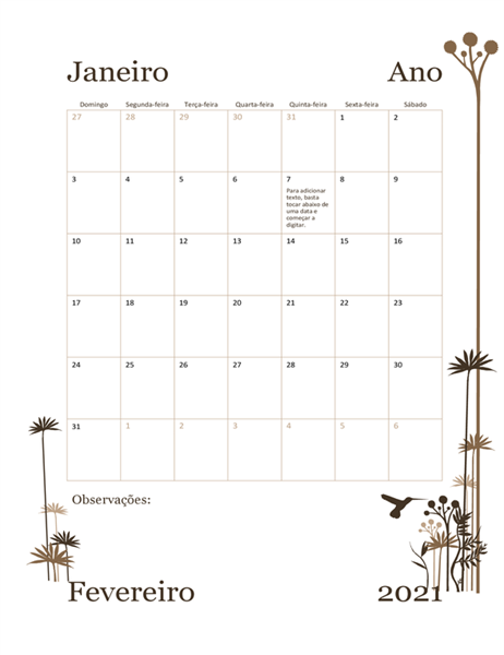 Calendário de 12 meses (domingo a sábado) de 2018