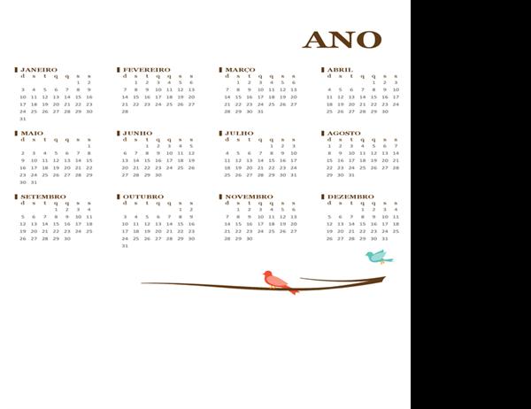 Calendário anual de 2018 (domingo a sábado)