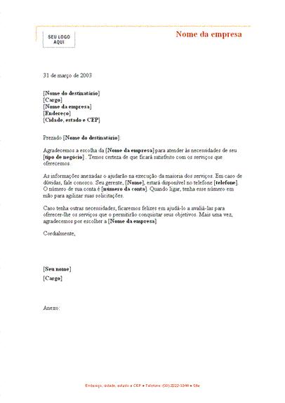 Carta de apresentação para um novo cliente