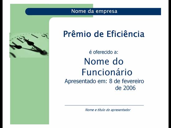 Prémio de eficiência (tema Cápsulas)
