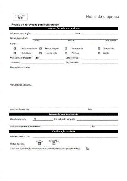 Pedido de aprovação para contratação