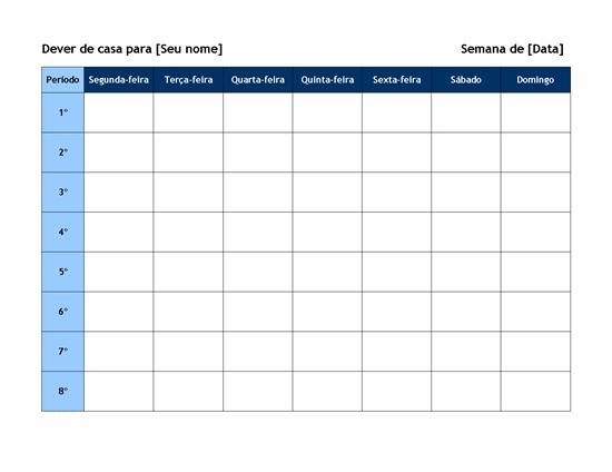 Programação semanal de lição de casa