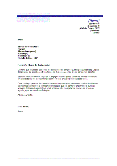 Carta para pedido de emprego (tema Linha azul)