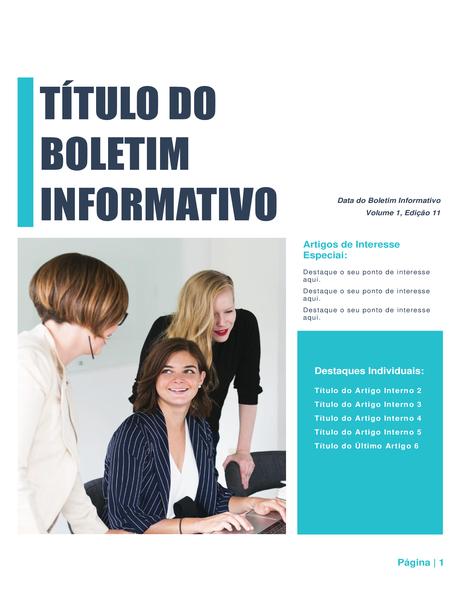 Boletim informativo (design simples, 4 colunas, 6 páginas impressas.)