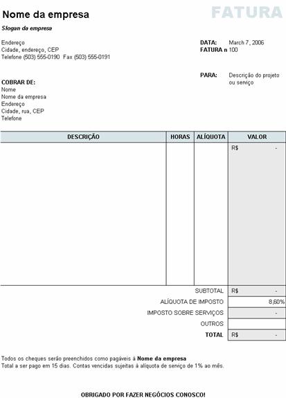 Fatura de serviços com cálculo de imposto