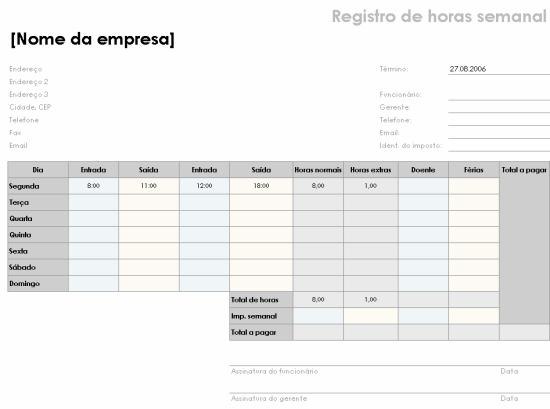 Registro de horas semanal (8 1/2 x 11, paisagem)