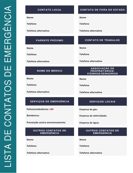 Lista de contatos de emergência