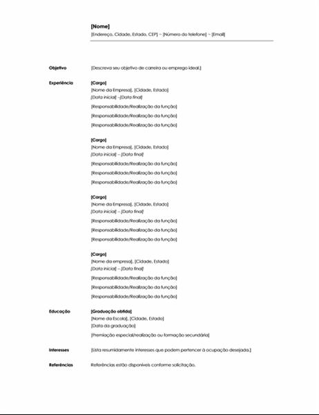 Currículo cronológico (tema Minimalista)