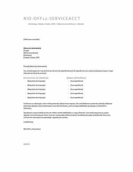 Carta de apresentação com pretensão salarial