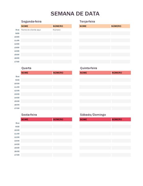 Calendário semanal de compromissos