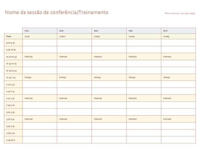 Agenda para evento de cinco dias
