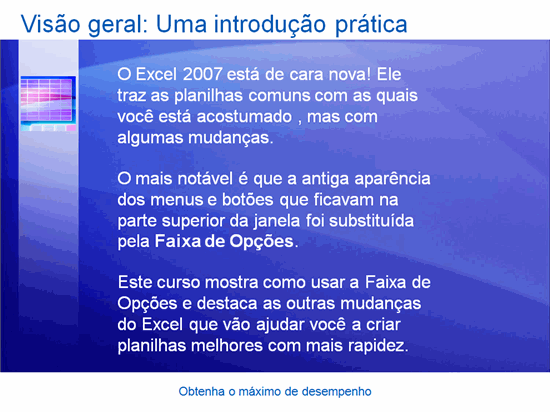Apresentação do treinamento: Excel 2007 — Familiarize-se
