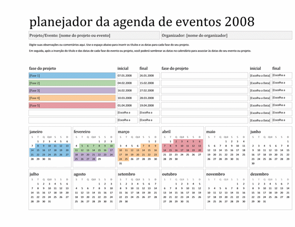 Planejador da agenda de eventos de 2008 (Seg-Dom)