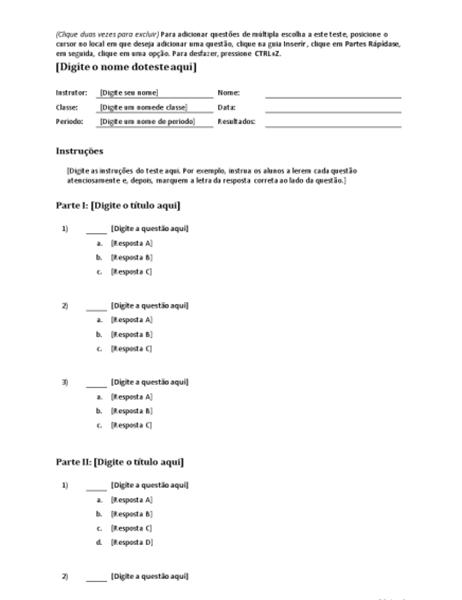 Kit de teste de múltipla escolha (para criar questões com 3, 4 ou 5 respostas)