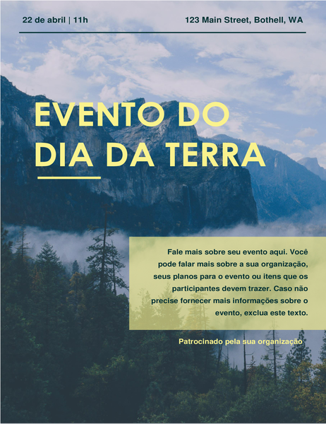 Panfleto de eventos do Dia da Terra