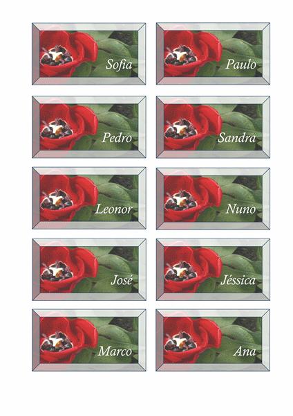 Cartões de local (design de floral)