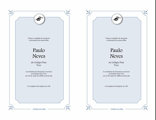 Anúncio de formatura (design formal)